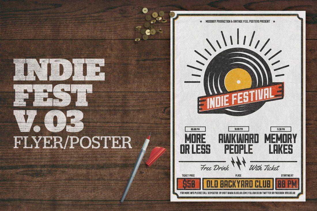 Indie-Fest-Poster-V03 27 Inspiring Letterpress Style Posters design tips