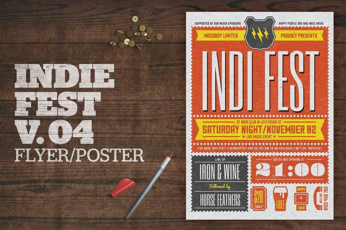 Indie-Fest-Poster-V04 27 Inspiring Letterpress Style Posters design tips
