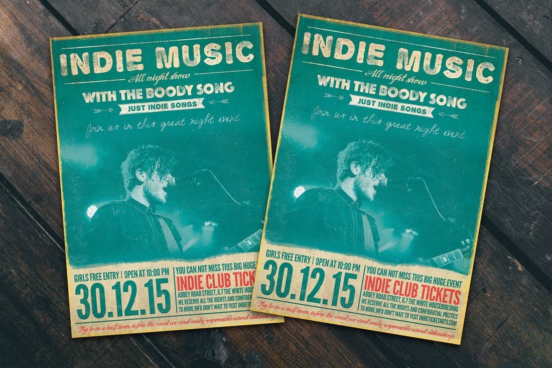 Indie-Music-Flyer-Poster 27 Inspiring Letterpress Style Posters design tips