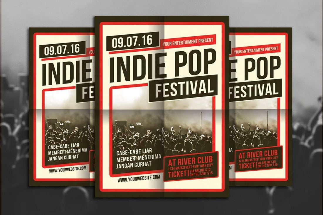 Indie-Pop-Festival-Flyer-Template 30+ Best Music & Band Flyer Templates design tips