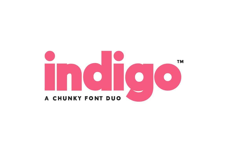 Indigo Font Chunky Font Duo