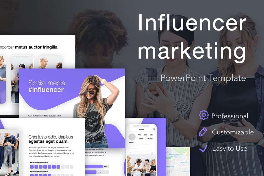 Modèle PowerPoint de marketing d'influence