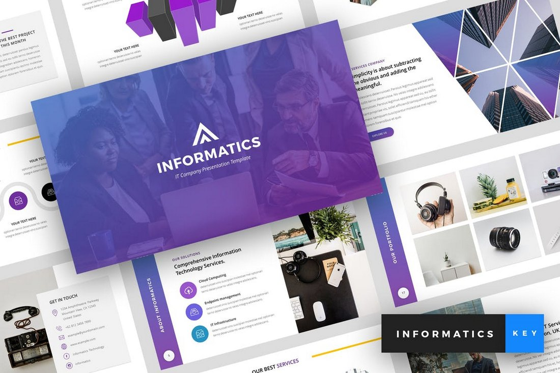 Informatics-IT-Company-Keynote-Template 30+ Best Minimal & Creative Keynote Templates design tips