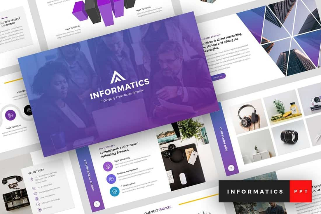 Informatics-IT-Company-PowerPoint-Template 20+ Best Company Profile Templates (Word + PowerPoint) design tips  Inspiration|company profile