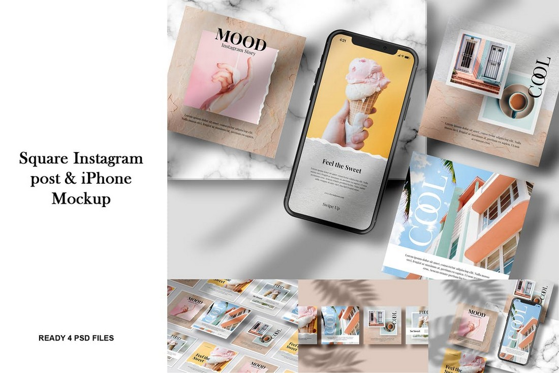 Instagram Post with iPhone Mockup Template 2