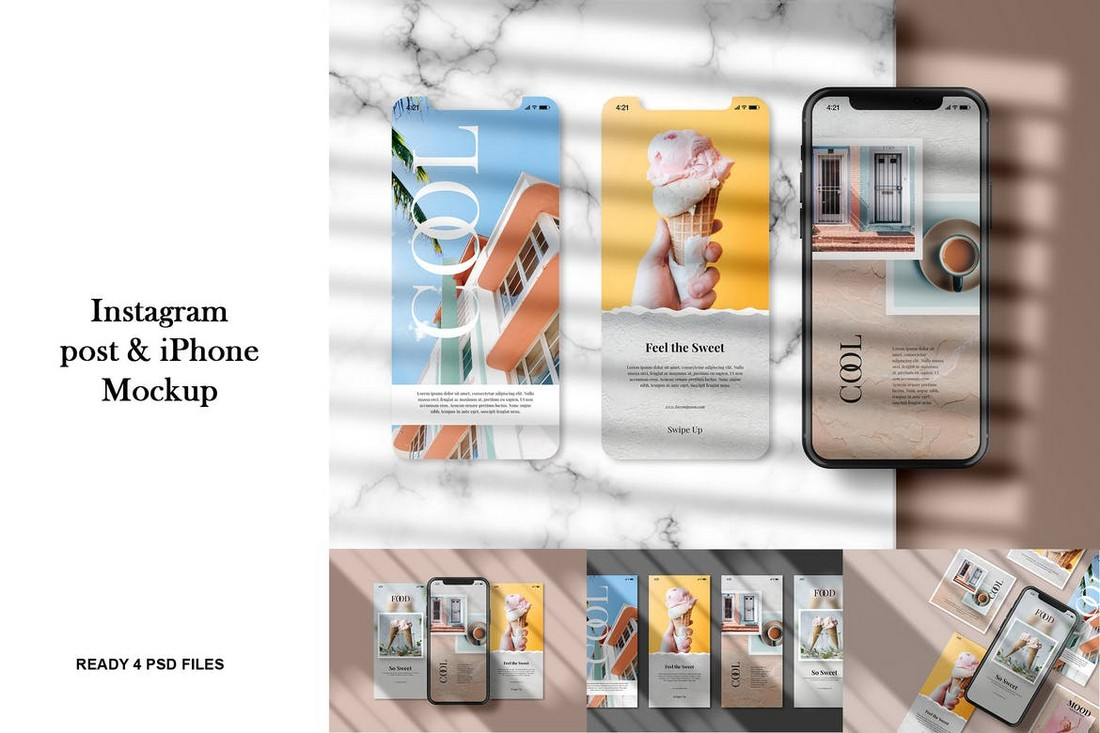 Instagram Post with iPhone Mockup Template