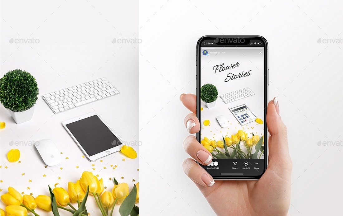 Instagram-Stories-Mockup-With-Device 20+ Best Instagram Mockup Templates (Story & Post) design tips