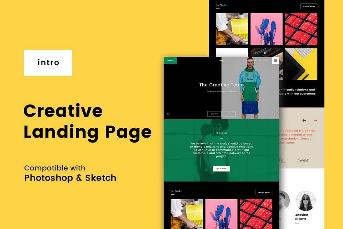 Intro - Creative Landing Page Template (PSD + Sketch)