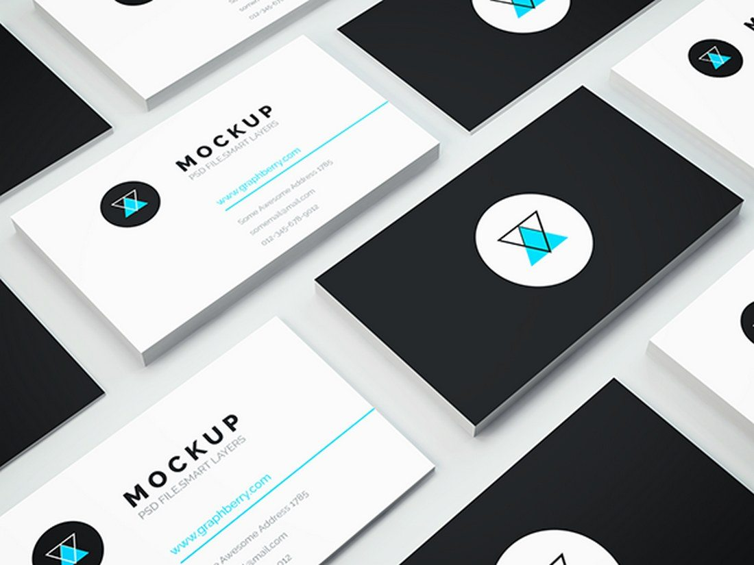 20 best isometric mockup templates design shack showcase your business card designs with this professionally crafted business card mockup template it allows you to showcase both front and back of your wajeb Gallery