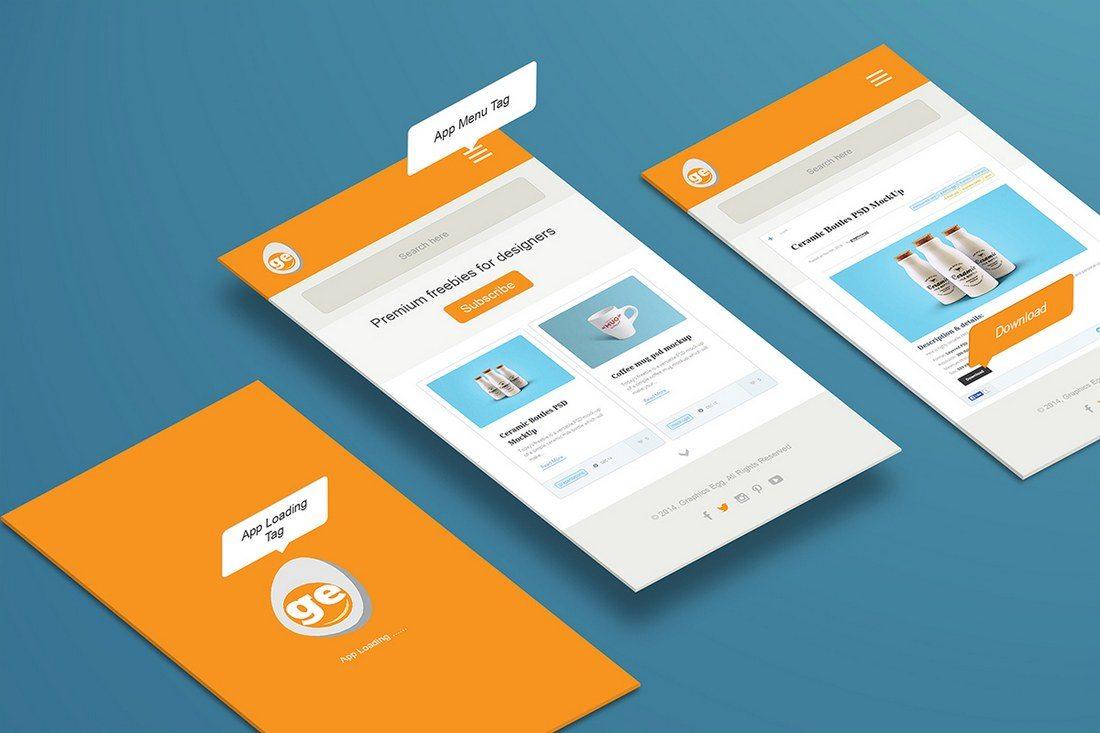Isometric-Perspective-App-Mockups 30+ Best Isometric Mockup Templates design tips