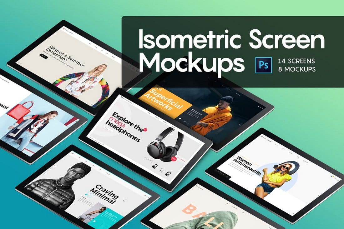 Isometric Screen Mockup Templates
