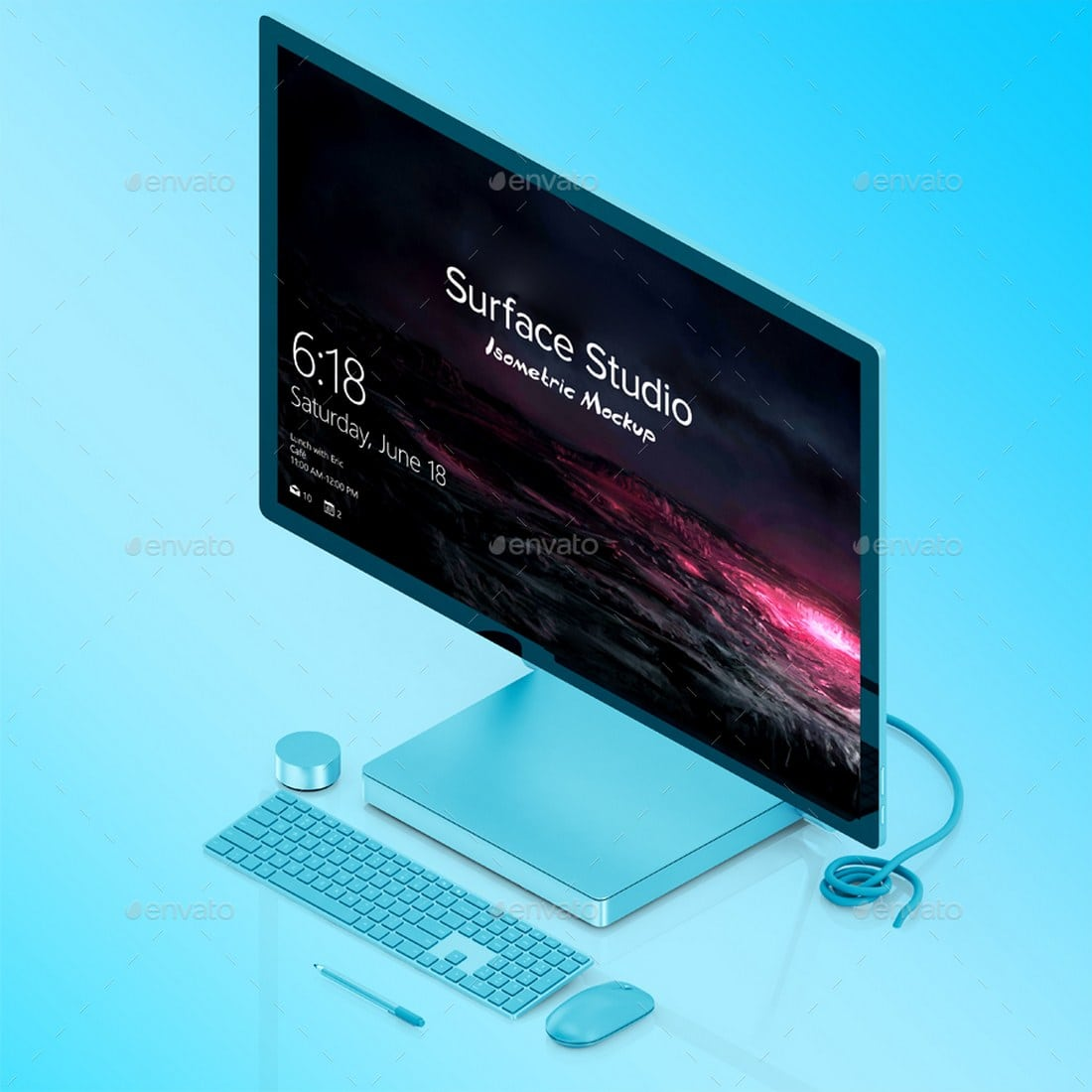 Isometric Surface Studio Mockup