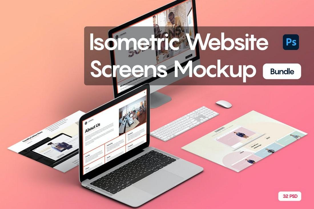 Isometric Website Screens Mockup Bundle