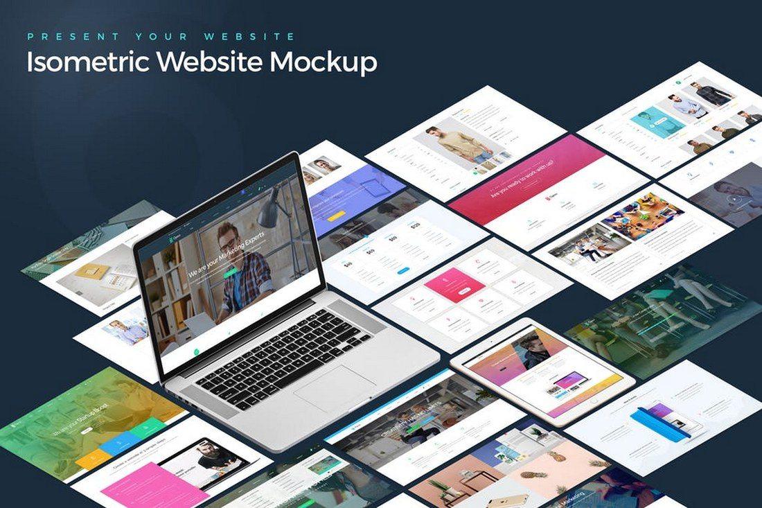 Isometric-Website-Showcase-Mockup 20+ Best Isometric Mockup Templates design tips