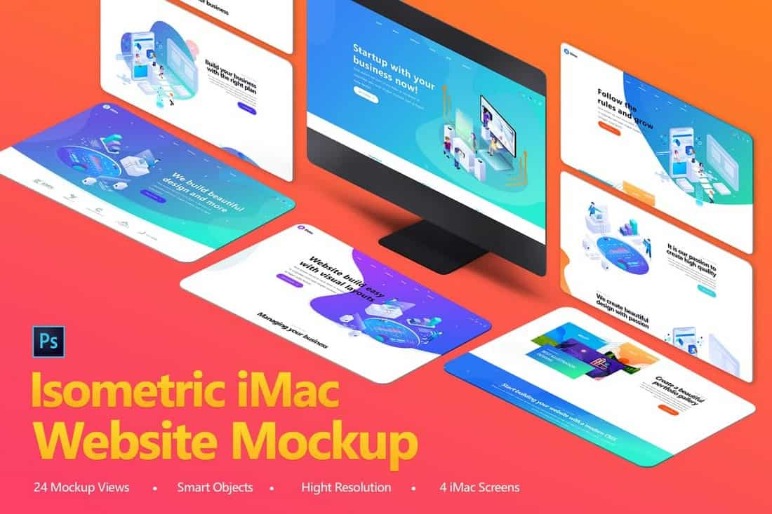 Isometric iMac Website Mockup