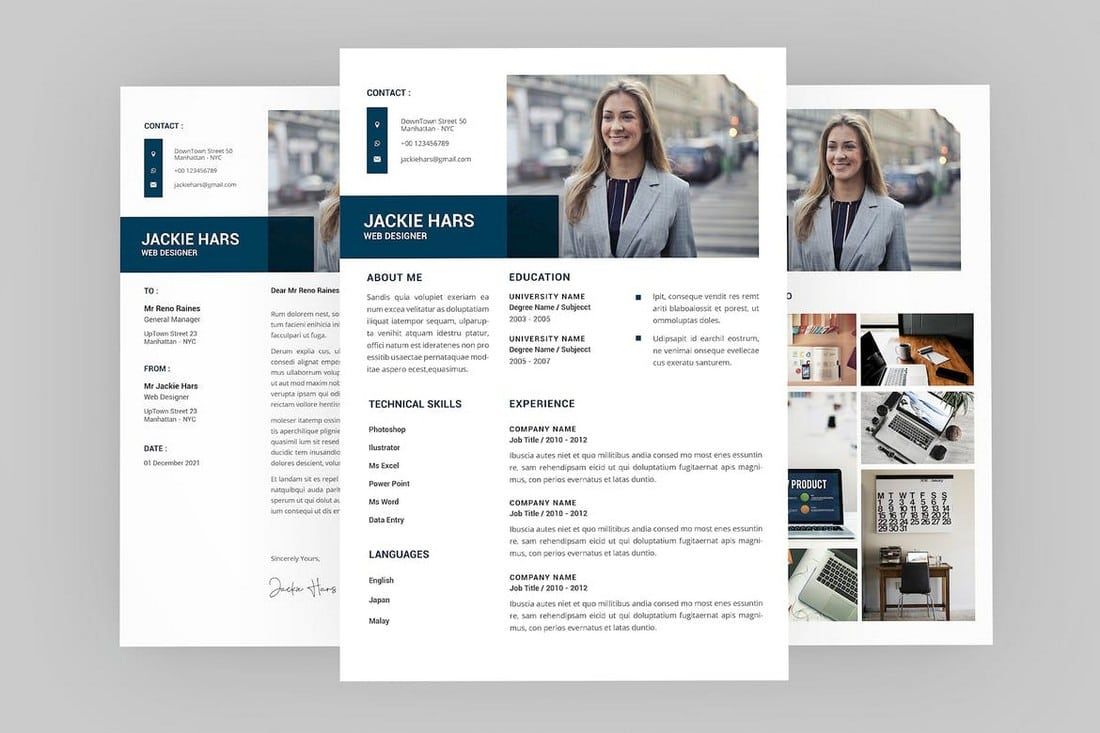 Jackie-Complete-Professional-Resume-Template 50+ Best CV & Resume Templates 2020 design tips