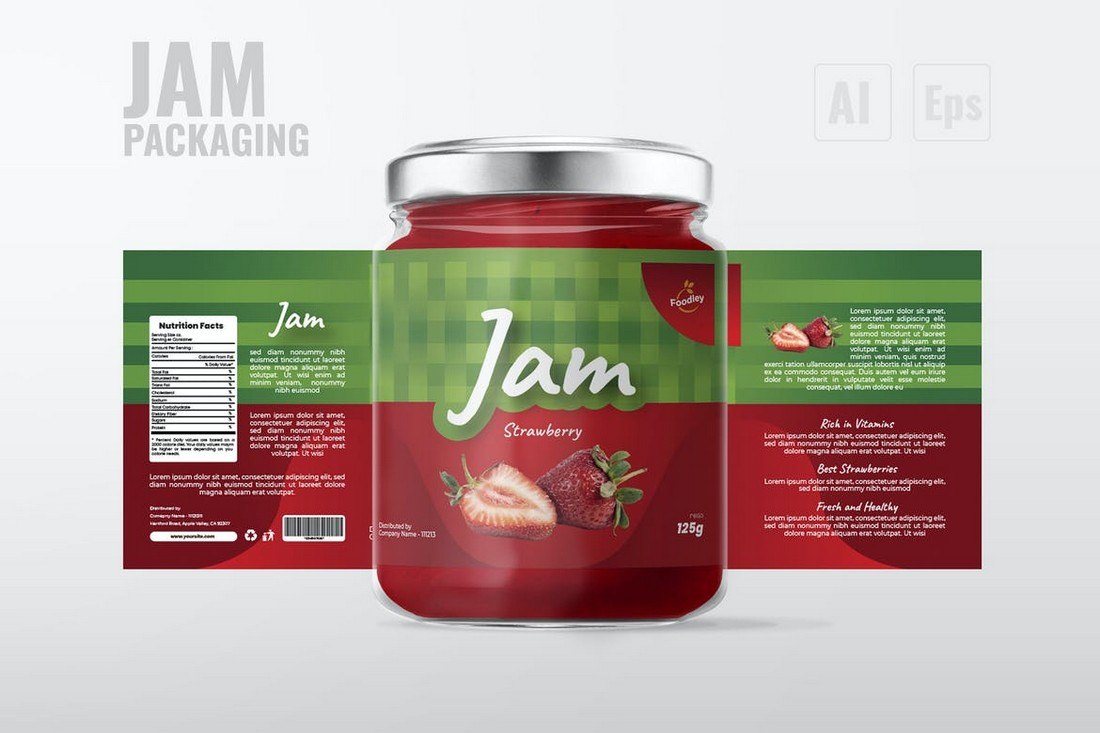 Jam Bottle Label Design Template
