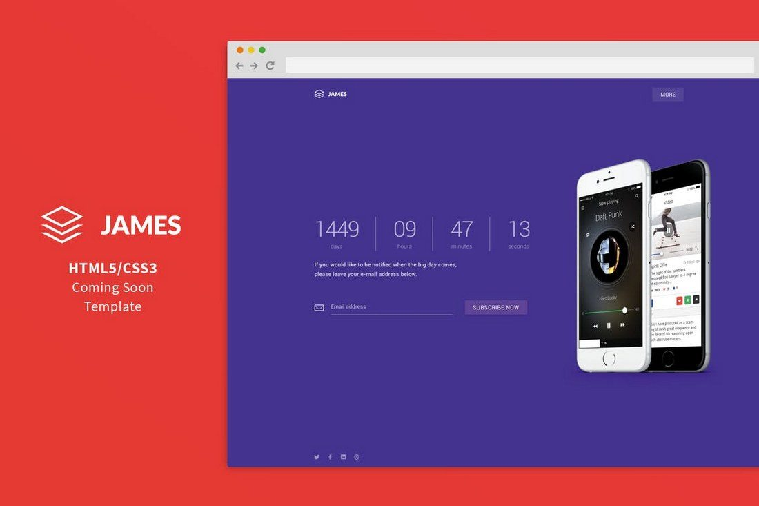 James-Material-Design-Coming-Soon-Template 50+ Best App Landing Page Templates 2021 design tips