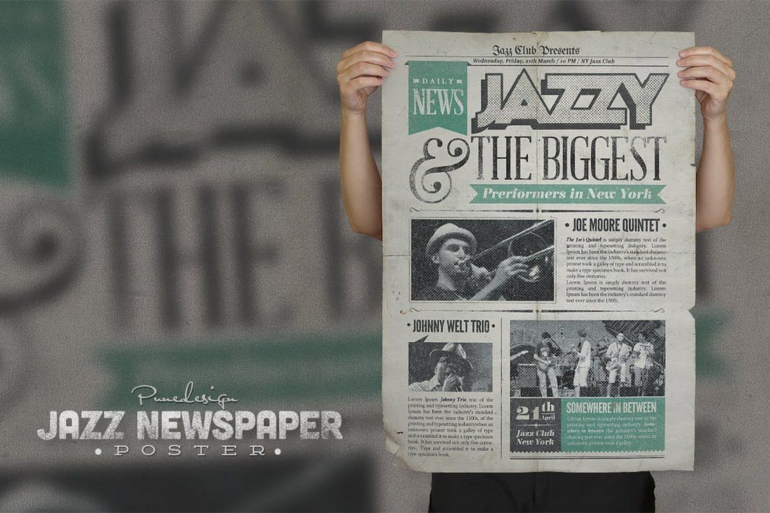 Jazz-Vintage-Newspaper-Poster 27 Inspiring Letterpress Style Posters design tips