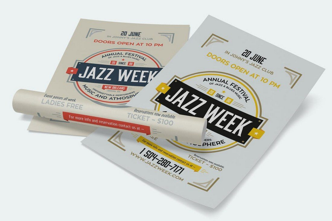 Jazz-Week-Poster-Template 27 Inspiring Letterpress Style Posters design tips