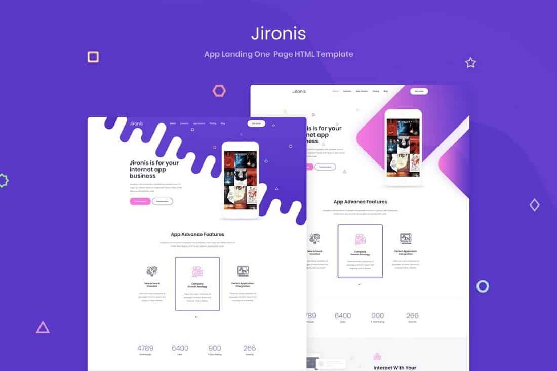 Jironis-One-Page-HTML-App-Landing-Template 50+ Best App Landing Page Templates 2021 design tips