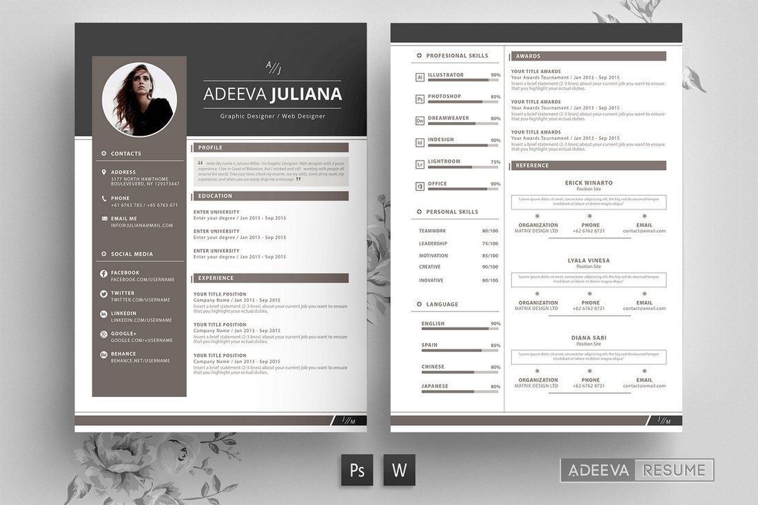 Julianna-Modern-Resume-Template 50+ Best CV & Resume Templates 2020 design tips