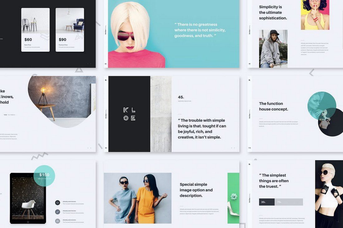 25 best minimal powerpoint templates 2018 design shack kloe is a powerpoint template with a creative design thats most suitable for fashion and clothing related brand and business promotions toneelgroepblik Images