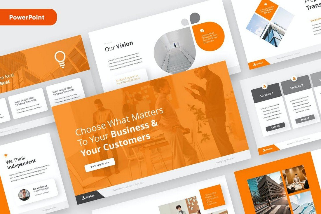 KRAFTED - Business Pitch Powerpoint Template