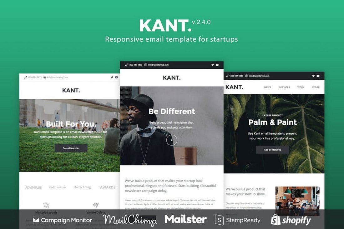 Kant-Responsive-Email-Newsletter-Template 20+ Best MailChimp Email Newsletter Templates (Free + Premium) 2021 design tips