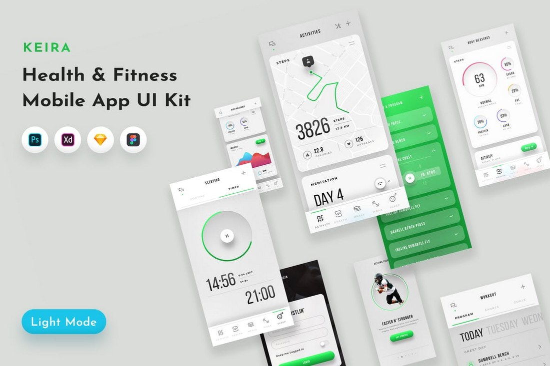 Keira - Fitness App UI Kit Adobe XD Templates