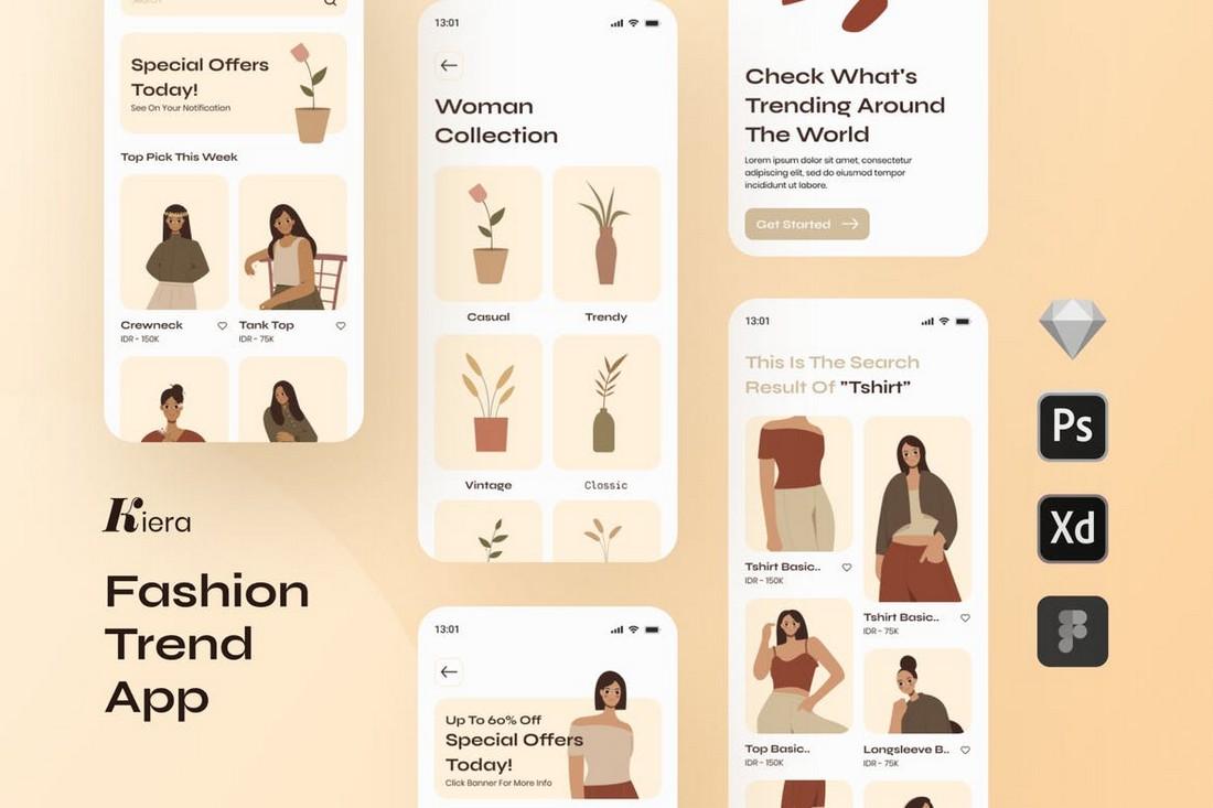 Kiera Fashion Trends iOS App Template for Sketch
