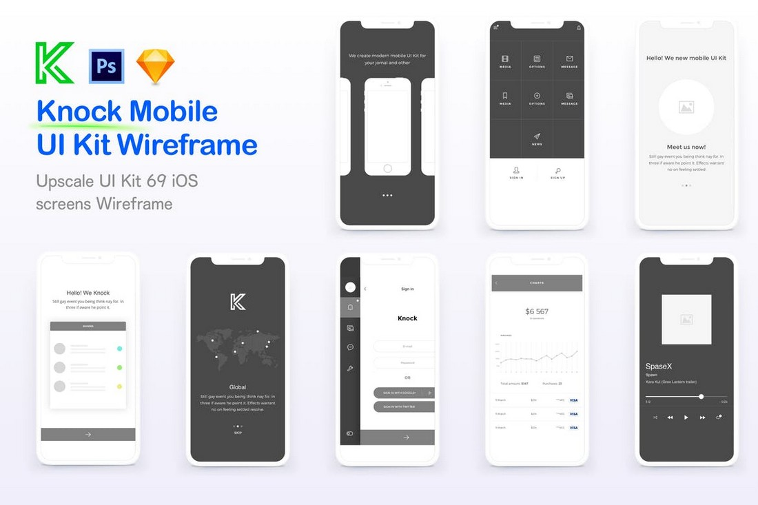 Knock Mobile UI Kit Wireframe Screens