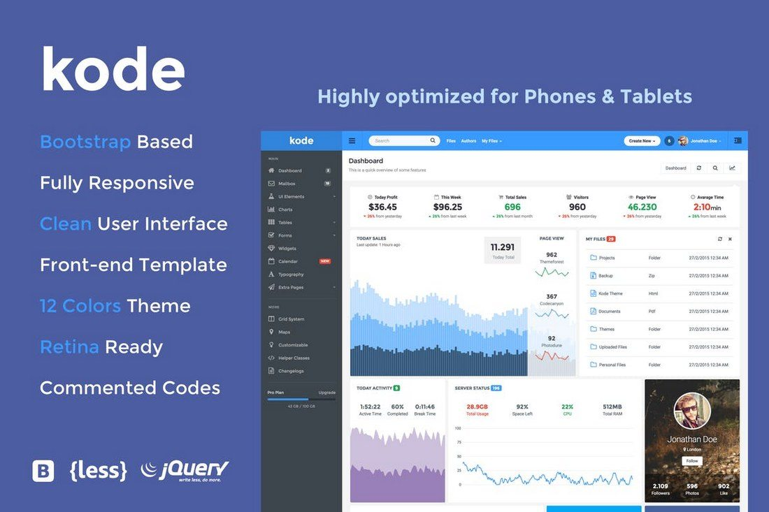 Kode-Responsive-Admin-Dashboard-Template 40+ Best Bootstrap Admin Templates of 2019 design tips