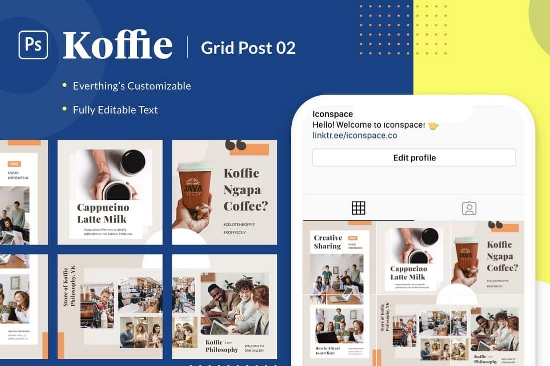 Koffie Grid - Instagram Grid Layout Theme