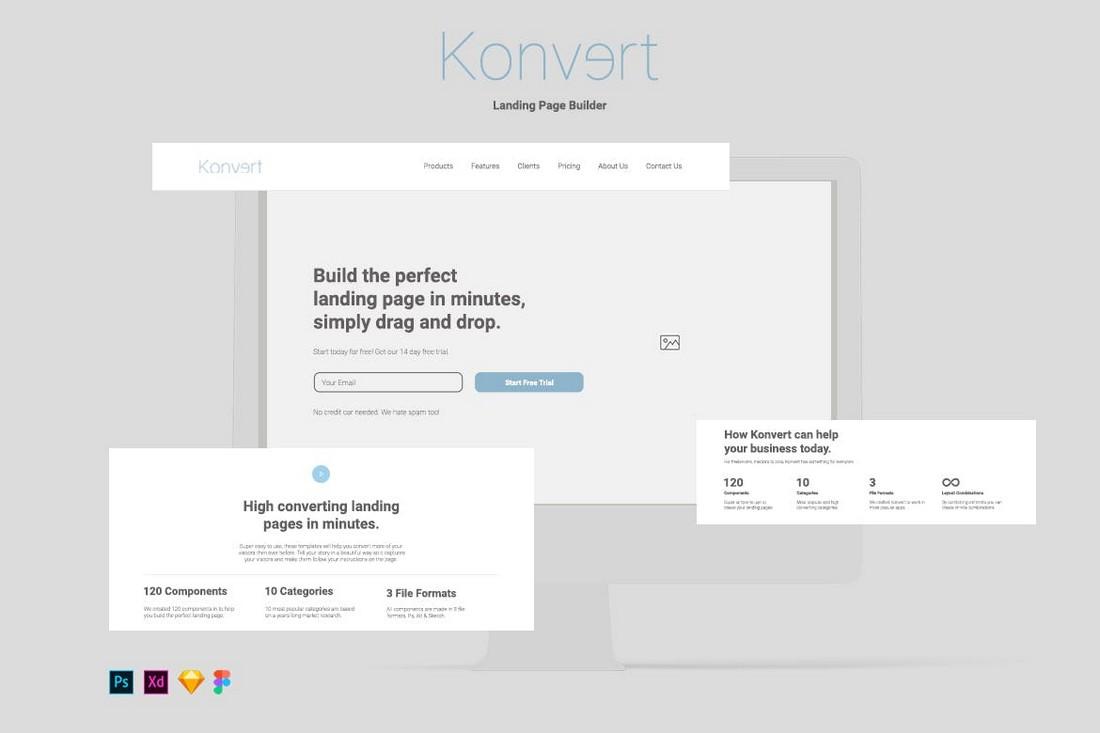Konvert Landing Page Builder for Adobe XD