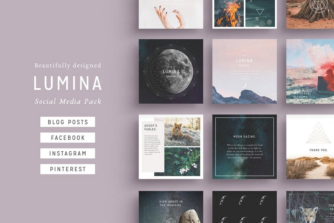LUMINA-Social-Media-BUNDLE 20+ Best Social Media Kit Templates & Graphics design tips