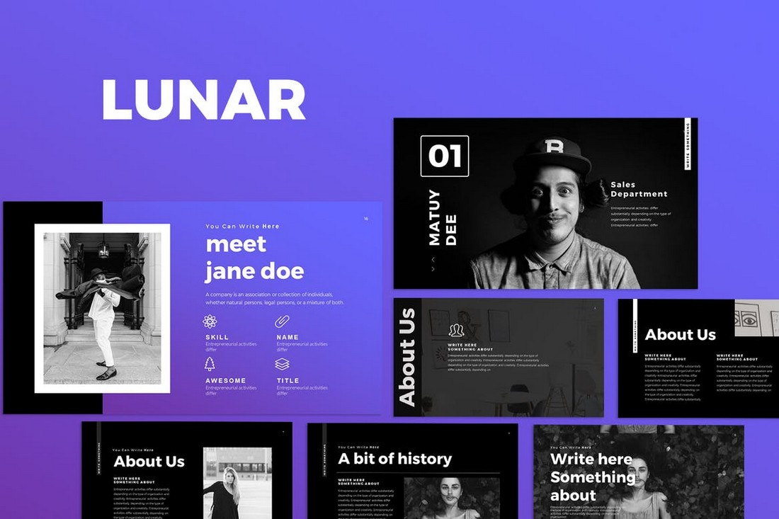 LUNAR - Dark Google Slides Template
