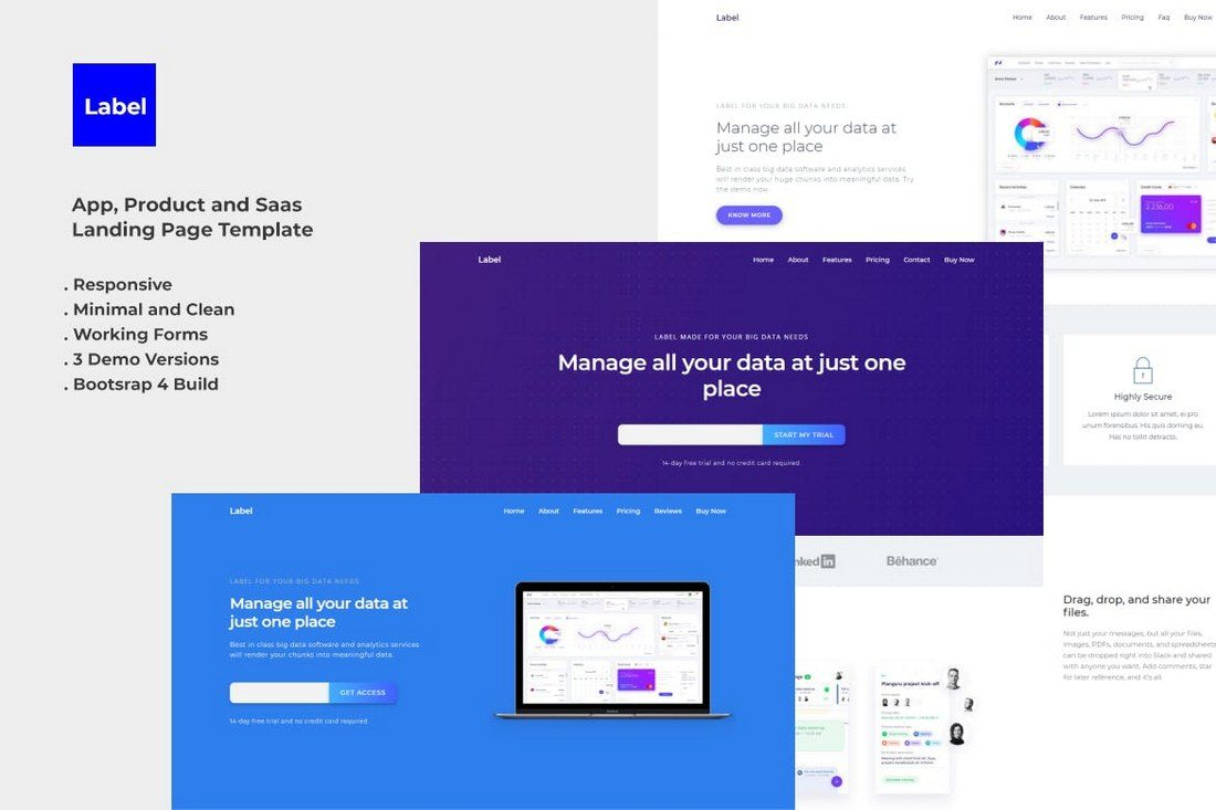 Label-Software-and-App-Landing-Page-Template 30+ Clean & Minimal Landing Page Templates design tips