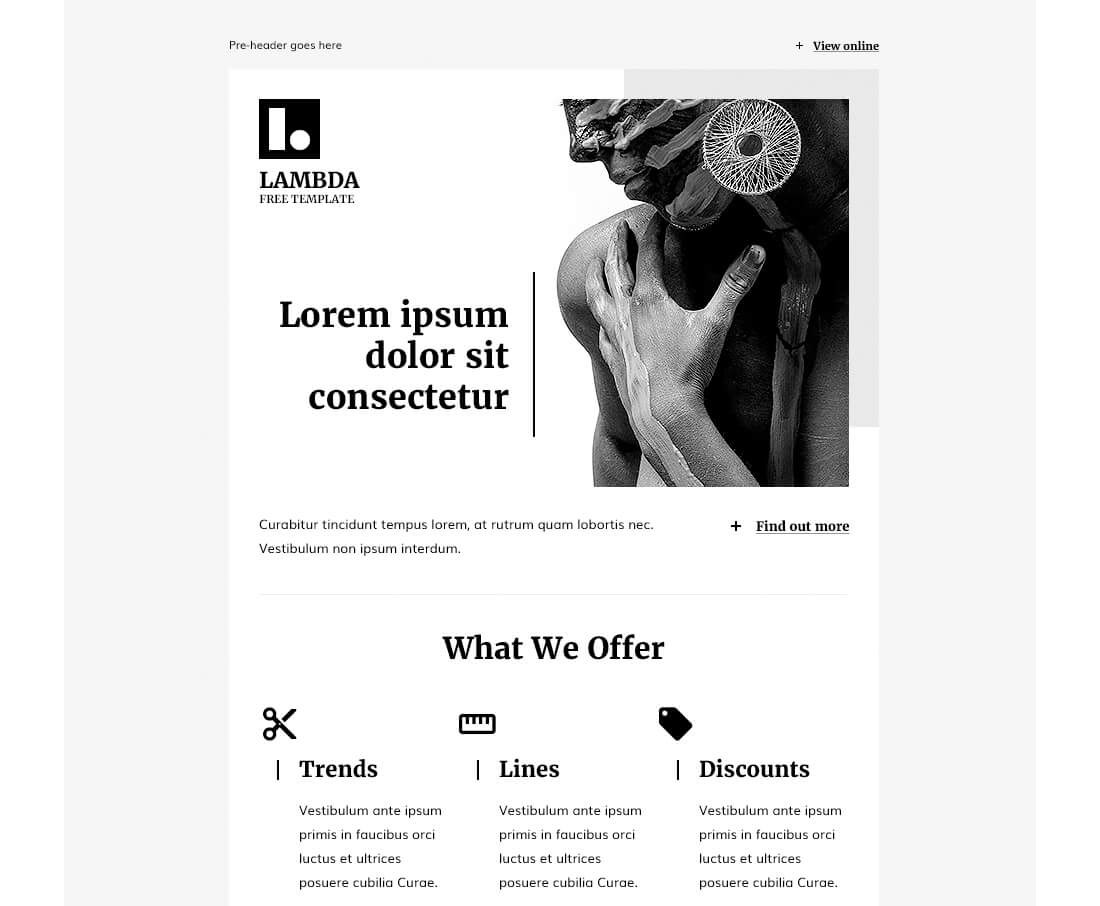 Lambda-–-Free-HTML-Email-Template 40+ Modern Responsive Email Templates 2021 design tips
