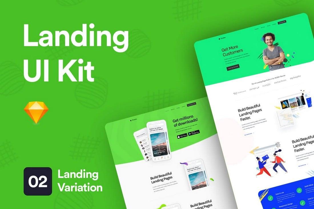 Landing Page UI Kit for Sketch