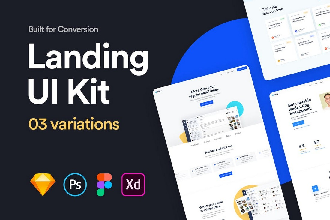 Landing UI Kit Sketch Templates
