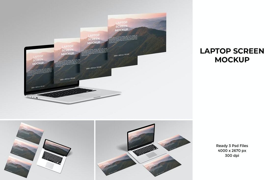 Laptop Screens Website Mockup