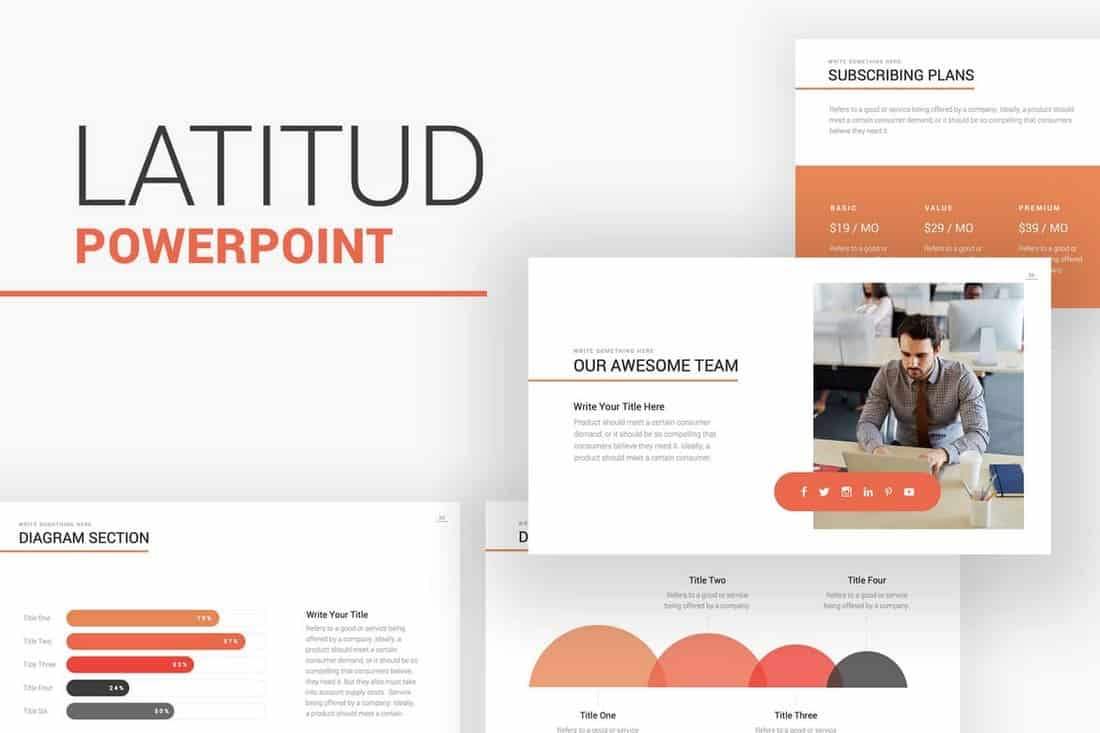 Latitud - Business Pitch Deck PowerPoint Template