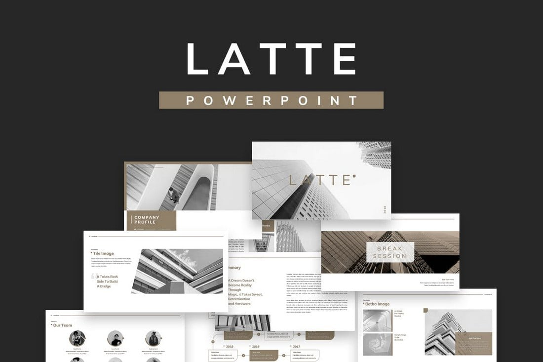 20 modern professional powerpoint templates design shack latte is a professional powerpoint template that comes with a minimal and a modern design the template features lots of space for showing off images with a friedricerecipe Choice Image