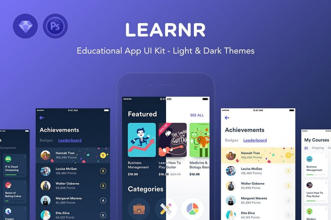 Learnr - Online Courses Sketch iOS Templates
