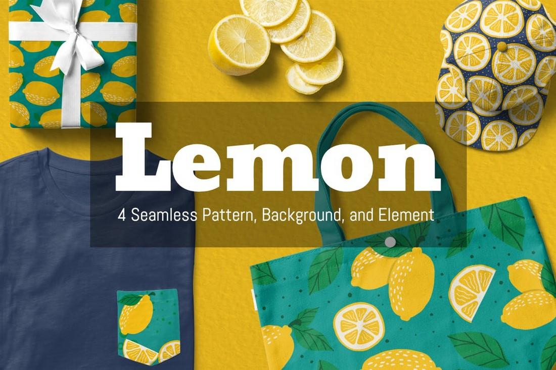 Lemon Seamless Pattern & Backgrounds