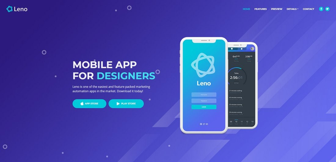 Leno-Free-Bootstrap-4-App-Landing-Page-Template 50+ Best App Landing Page Templates 2021 design tips