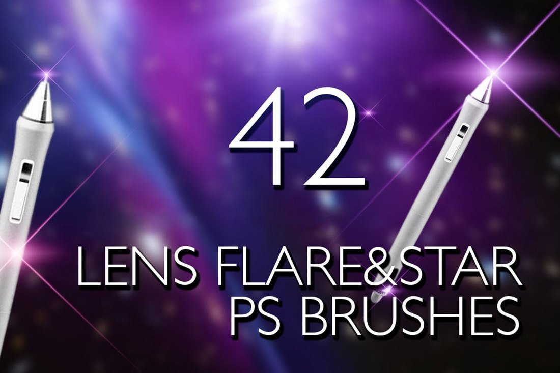 Lens-Flare-Stars-Photoshop-Brushes 15+ Christmas Photoshop Brushes, Actions & Text Effects design tips