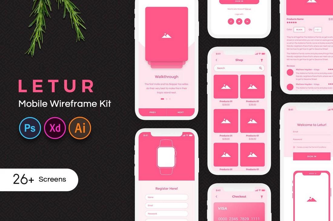 Letur - Mobile App Wireframe Kit