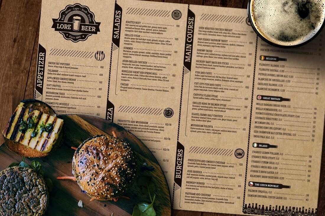 50 best food drink menu templates design shack for Irish menu templates